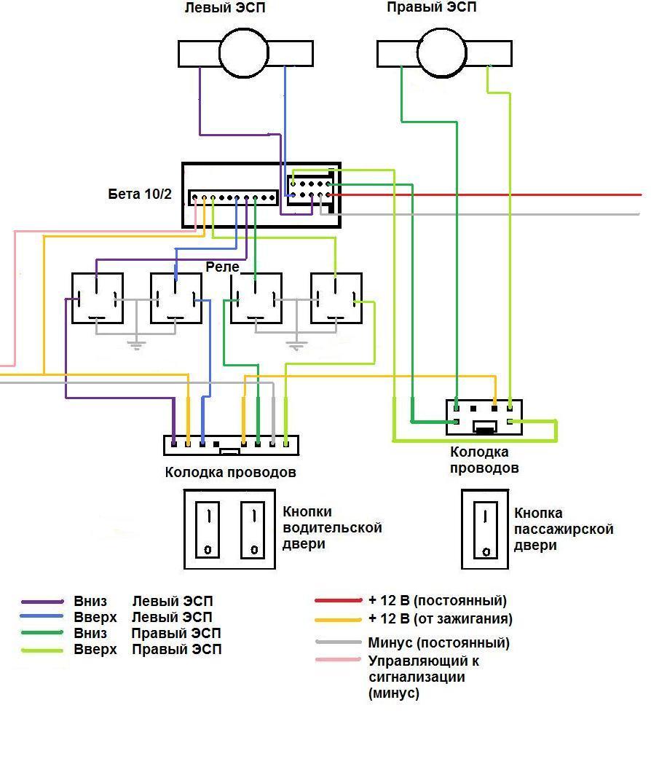 схема подключения cтеклоподъёмников с доводчиком стёкол